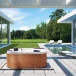 Kwadratowy basen ogrodowy Jacuzzi® Delfi dla 4 osób