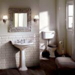 Devon&Devon, kolekcja Oxford, umywalka na nodze, WC z dolnopłukiem i bidet, kinkiety jasmine, lustro kwadratowe Flames