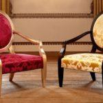 Eleganckie krzesła, z twardego drewna wysokiej jakości ze złotymi wykończeniami. Duresta, Nero chair.
