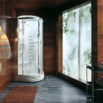 Narożna kabina prysznicowa Jacuzzi® Flexa z hydromasażem, łaźnią parową, aromaterapią i panelem sterującym