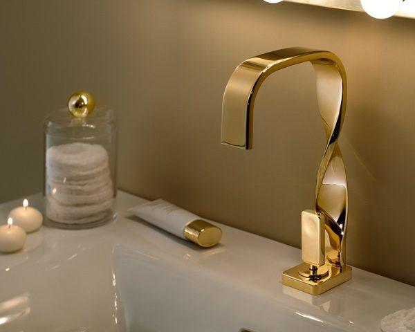 Bateria umywalkowa, Ritmonio, jednootoworowa, wykonana w złocie
