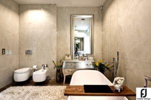 Salon łazienkowy: wisząca miska wc i bidet, konsola, wanna wolnostojąca