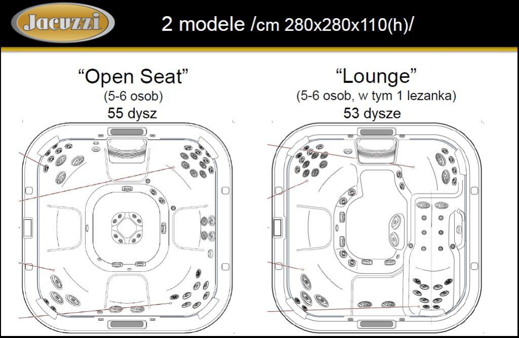 6-osobwy basen ogrodowy Jacuzzi® - układ dysz i miejsca siedzące