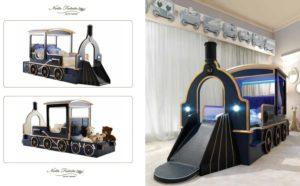 Łóżeczko-pociąg ze zjeżdżalnią