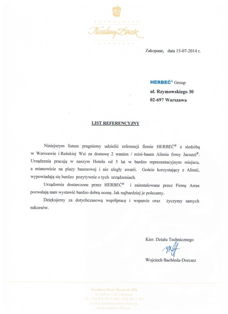 Referencje Jacuzzi Herbeć