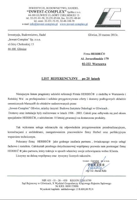 List referencyjny od Inwest-Complex Sp. z o.o.