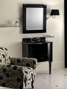 Devon&Devon, konsola umywalkowa Domino czarna, lustro czarne, kinkiet łazienkowy czarny
