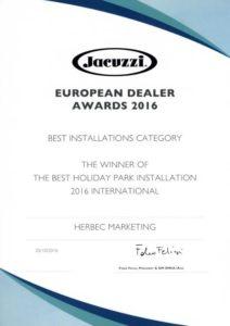 Dyplom za wygraną w konkursie Najlepsza instalacja mini-basenów Jacuzzi® w 2016 roku w obiektach wypoczynkowych w Europie