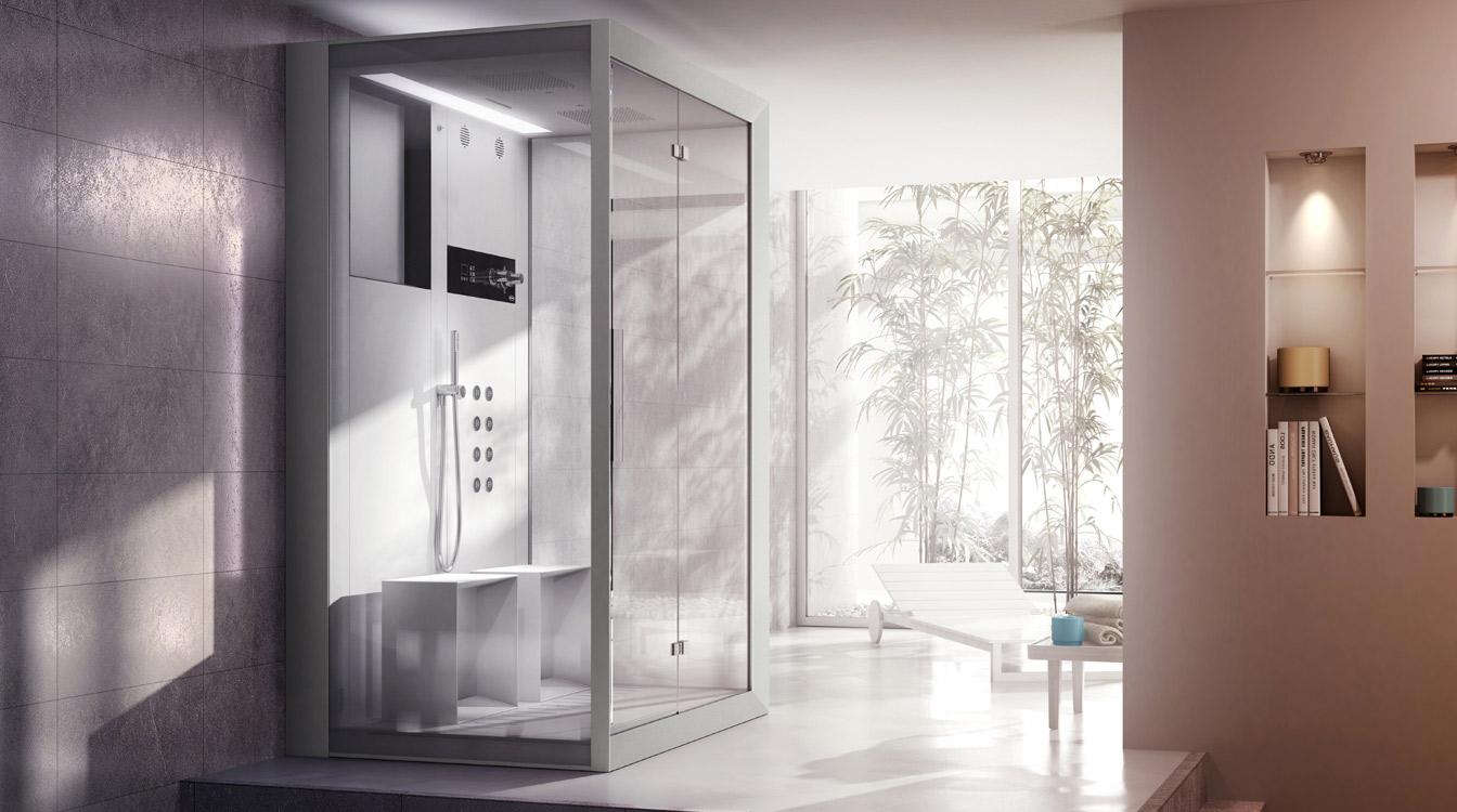 Kabina prysznicowa Jacuzzi® Frame z hydromasażem, aromaterapią, kolorowym oświetleniem, systemem audio.