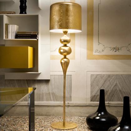 Lampa stojąca MASIERO, polerowane drewno, aluminium, H 190 cm Ø 50 cm