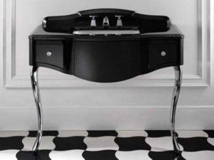 Devon&Devon, konsola Audrey czarna z szufladami, blat marmurowy